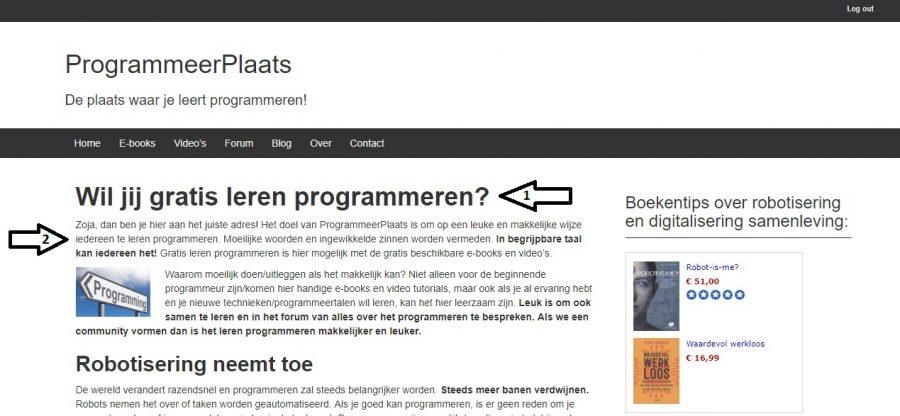 Voorbeelden van HTML tags op ProgrammeerPlaats