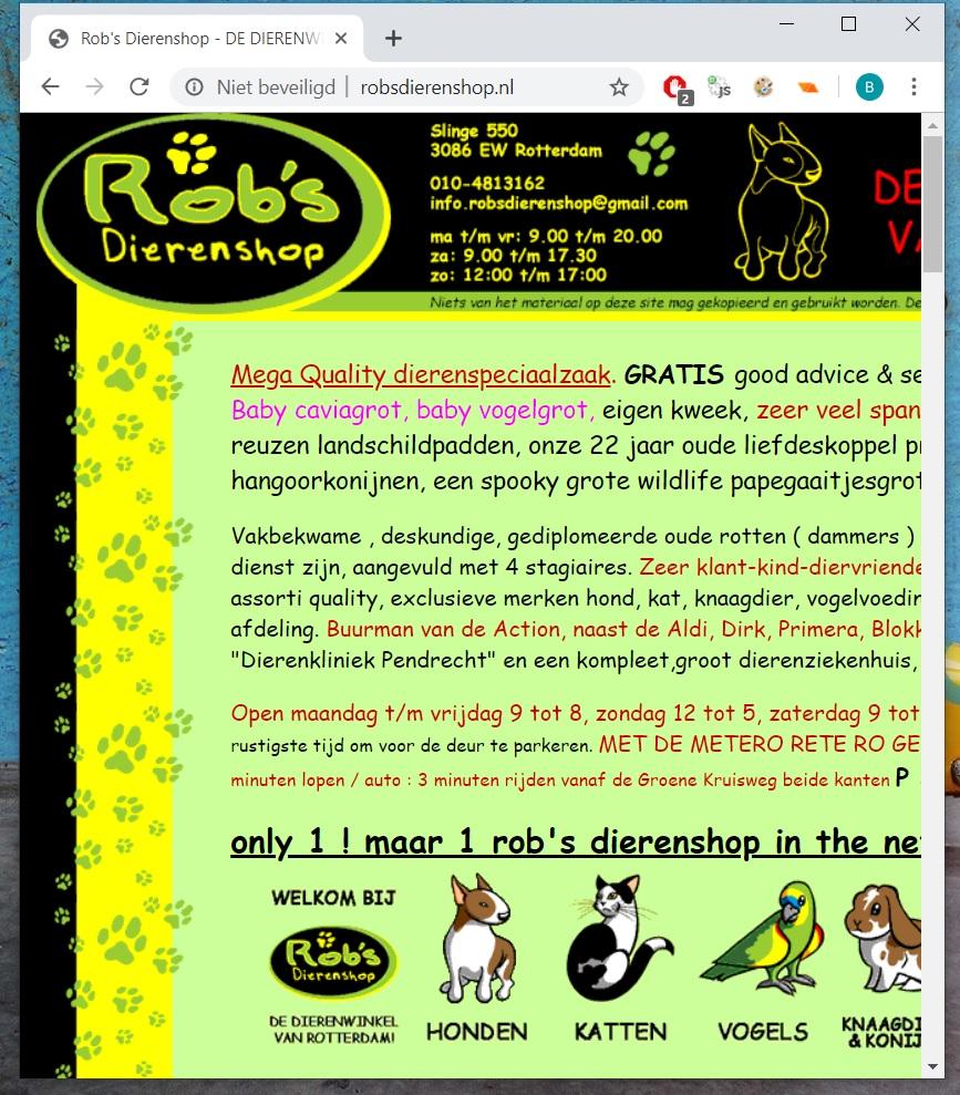 Rob's dierenshop geen responsive webdesign voorbeeld