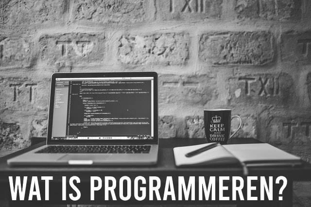 Wat is programmeren? Met laptop, schrift en koffie