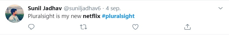 Positieve tweet Pluralsight Sunil