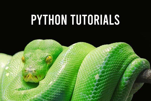 Python tutorials als titel met groene Python slang