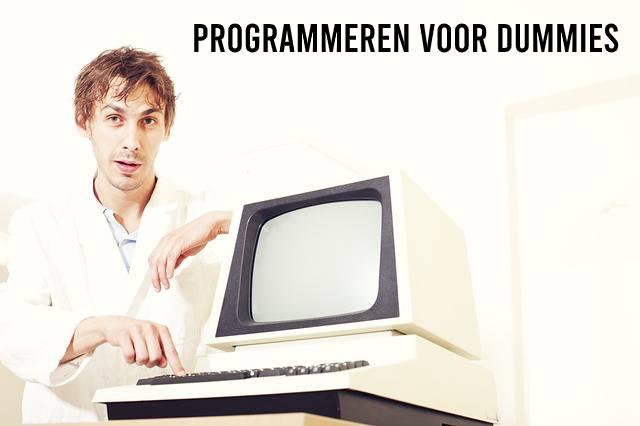 Programmeren voor Dummies, man met oude computer