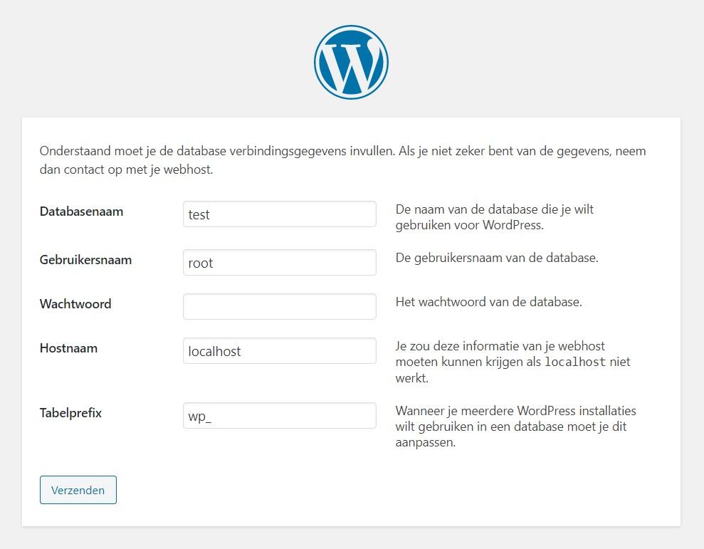 Database verbindingsgegevens WordPress