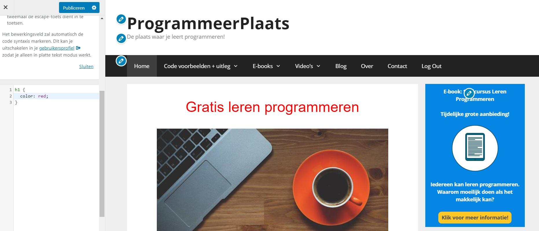 Extra CSS WordPress voorbeeld