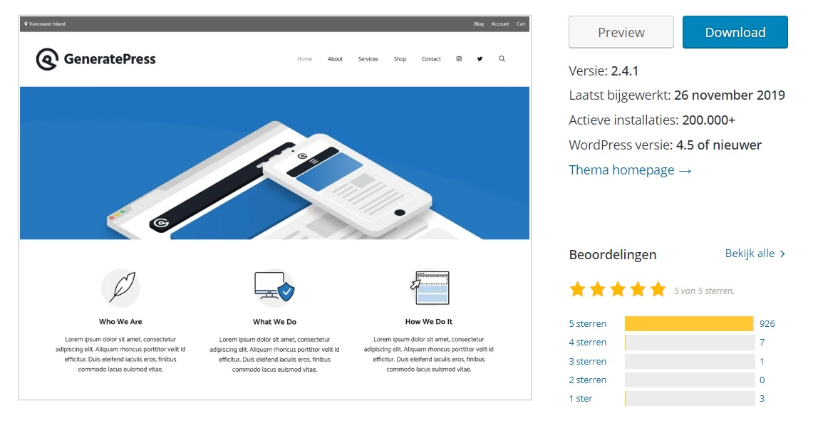 GeneratePress reviews en details op officiële WordPress website