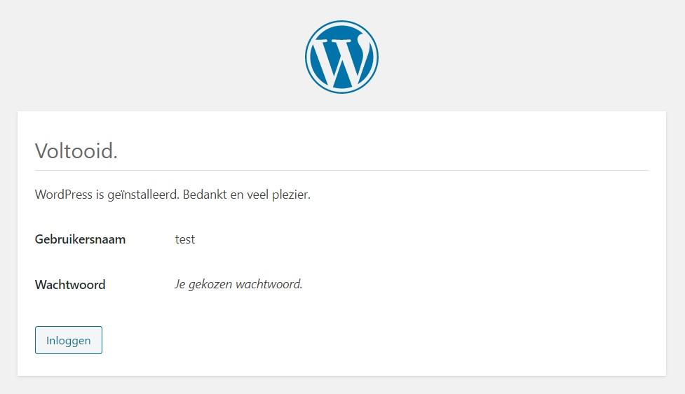 Installatie WordPress voltooid