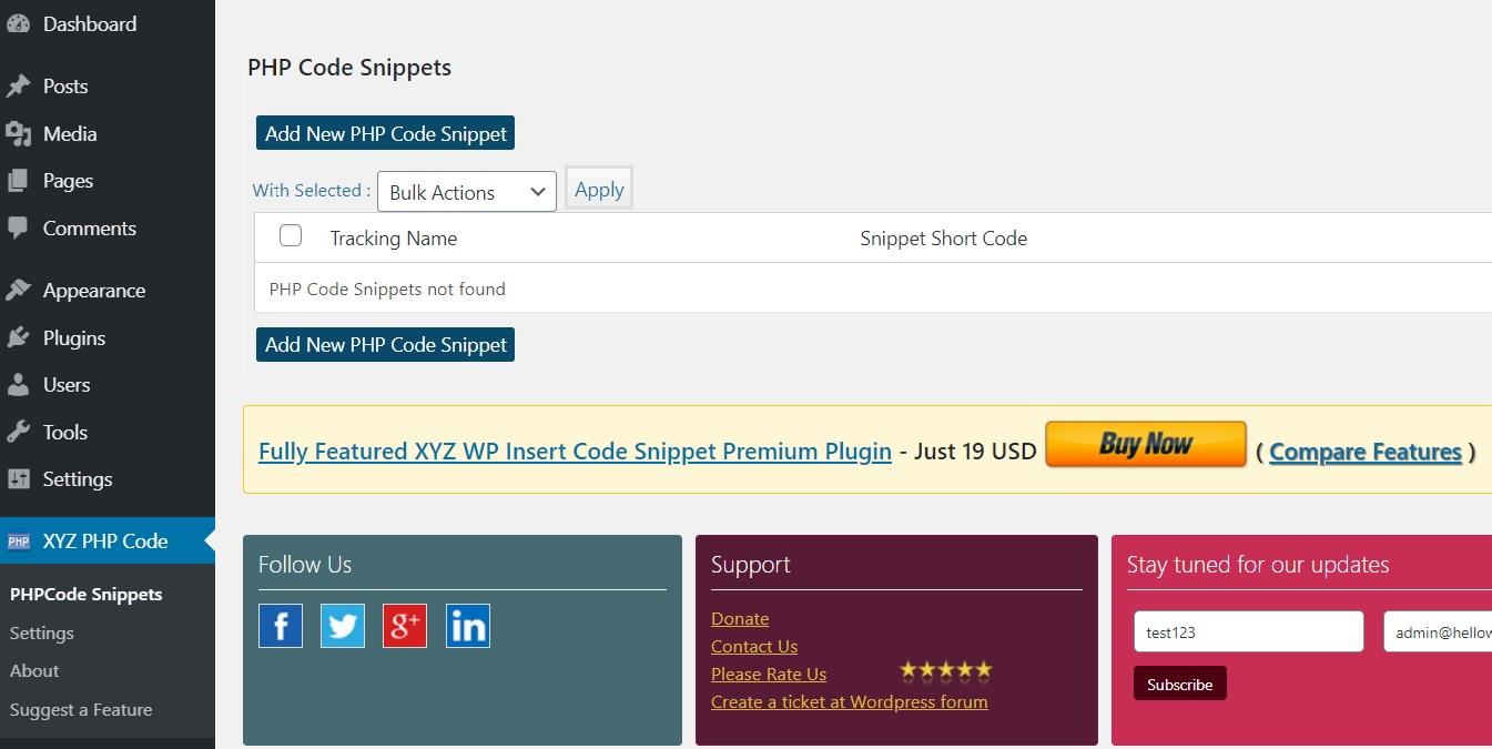 Klik op Insert PHP Code Snippet plugin