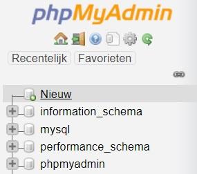 Nieuwe database phpmyadmin