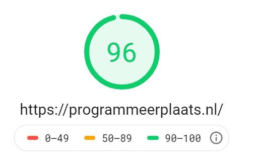 PageSpeed homepage ProgrammeerPlaats