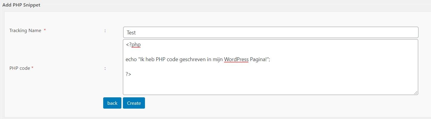 PHP snippet code voorbeeld