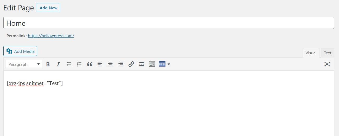 Shortcode PHP plakken in WordPress editor