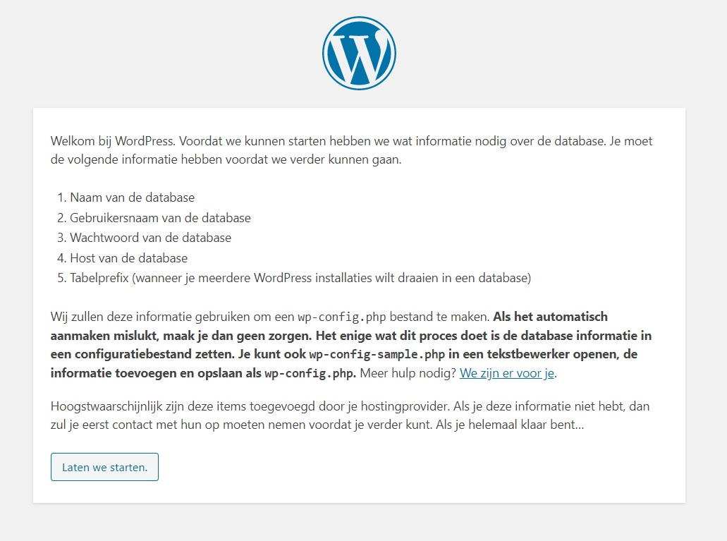 Welkomstscherm WordPress