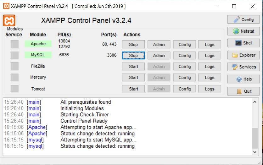 XAMPP control panel Apache en MySQL starten