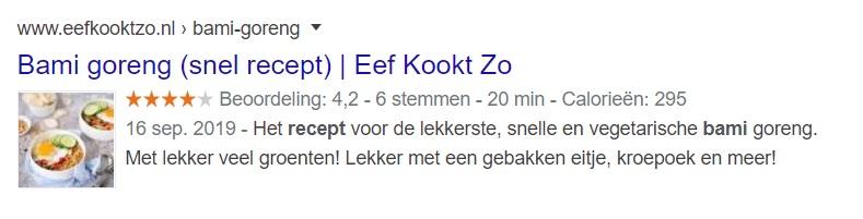 Bami recept Google resultaten met rich snippet voorbeeld