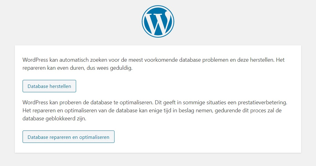 Database repareren WordPress