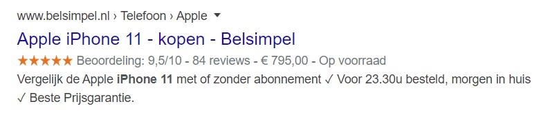 Product rich snippet voorbeeld