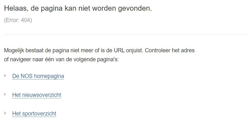 HTTP error 404 NOS