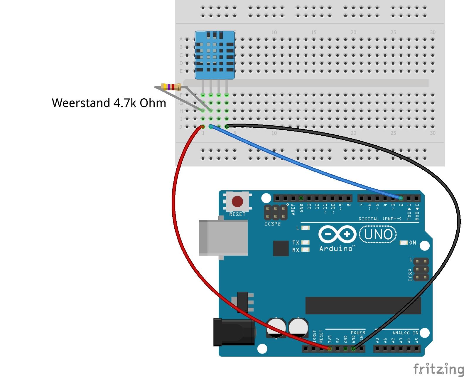 DHT11 vier pinnen circuit