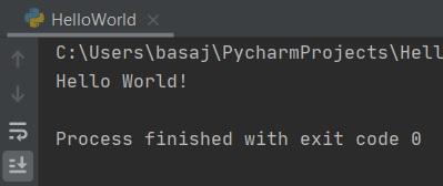 Hello World! Python resultaat in PyCharm