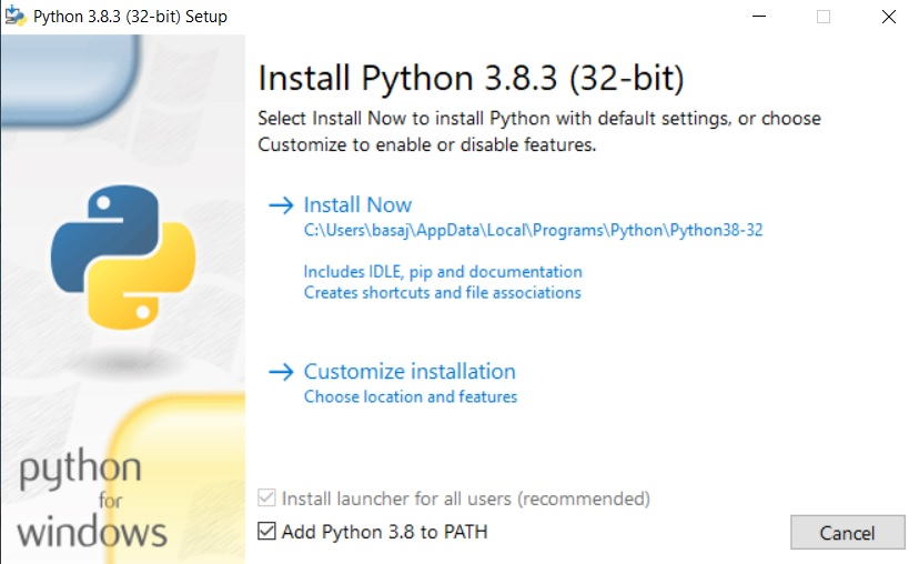 Installatiescherm Python