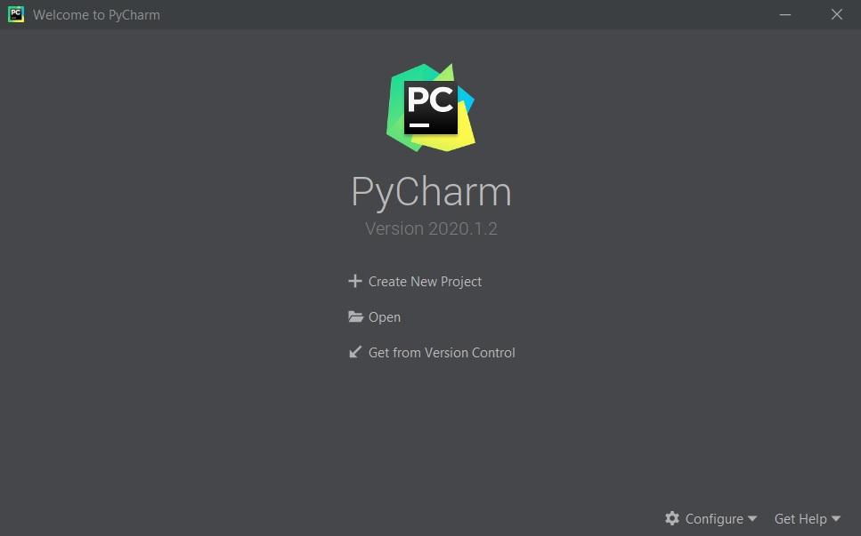 Welcome screen PyCharm (Welkomstscherm PyCharm)