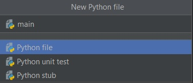 New Python file PyCharm