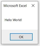 """""""Dialog box"""" met """"Hello World!"""" in Excel"""