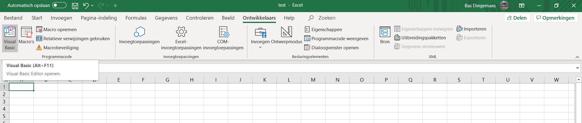 Open Visual Basic Editor in het lint in Excel