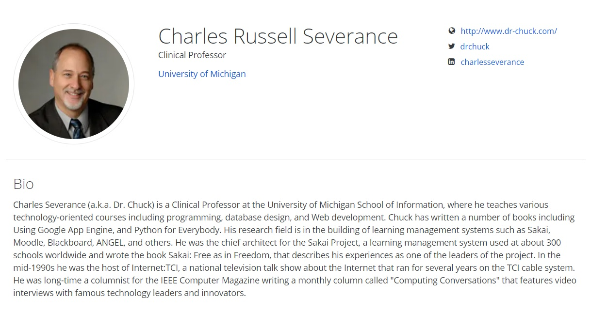Charles Russell Severance Coursera