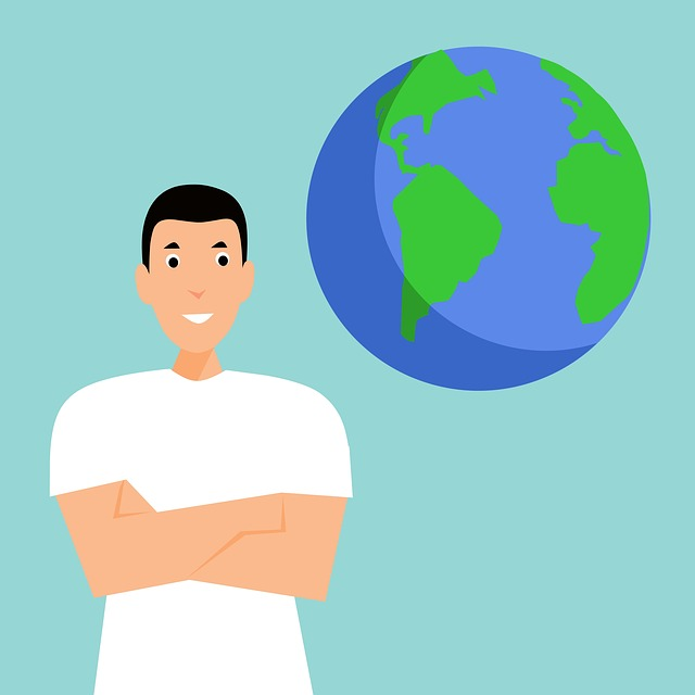 Man naast wereldbol
