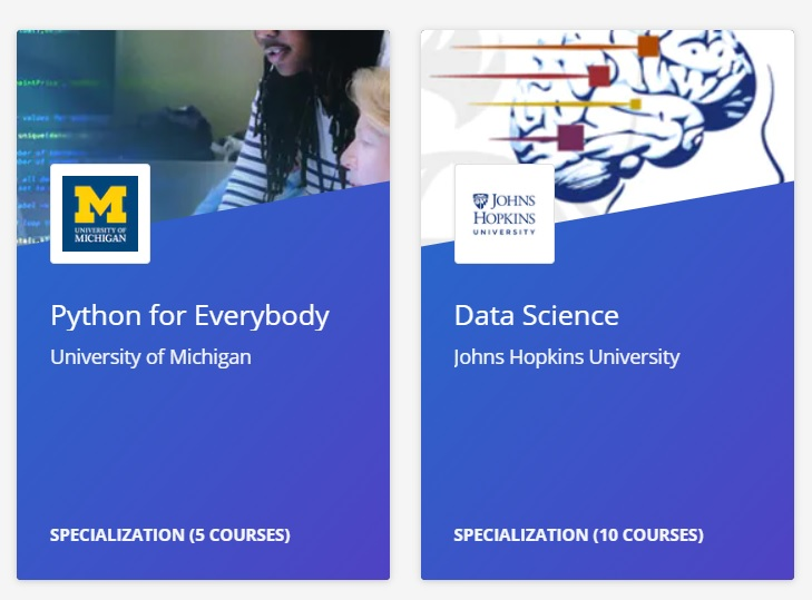 Python for Everybody en Data Science Specializations Coursera
