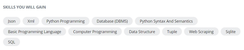 Skills Python for Everybody Specialization Coursera
