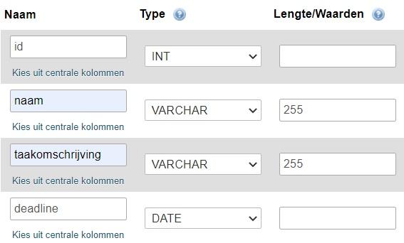 Naam, type en lengte voor kolommen phpMyAdmin