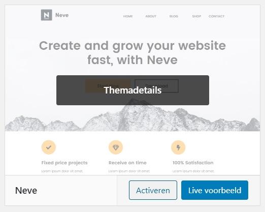 Neve activeren WordPress