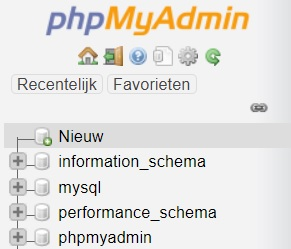 Nieuw database phpMyAdmin