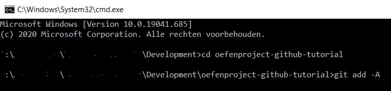 Add all basic Git command voorbeeld command line interface Windows
