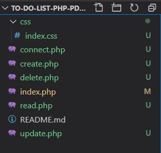 Bestanden to-do list PHP, PDO en MySQL database project