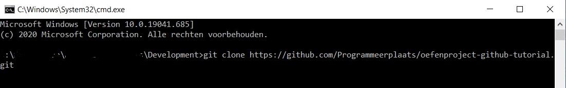 Clone Git command voorbeeld command line interface Windows