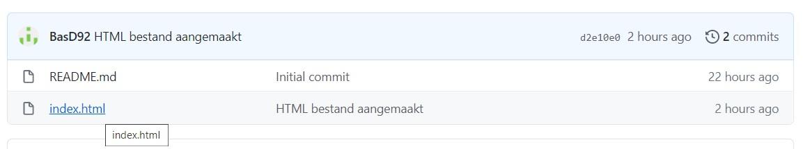 Klik op bestand repository GitHub