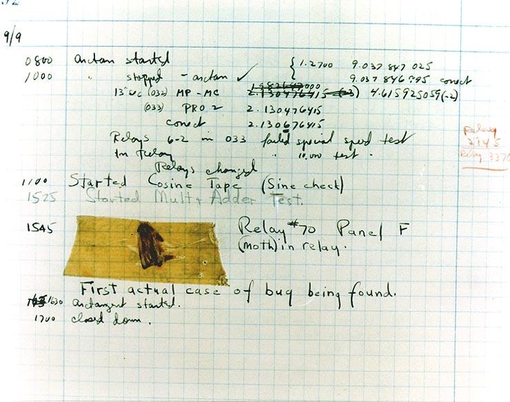 Eerste bug Grace Hopper logboek
