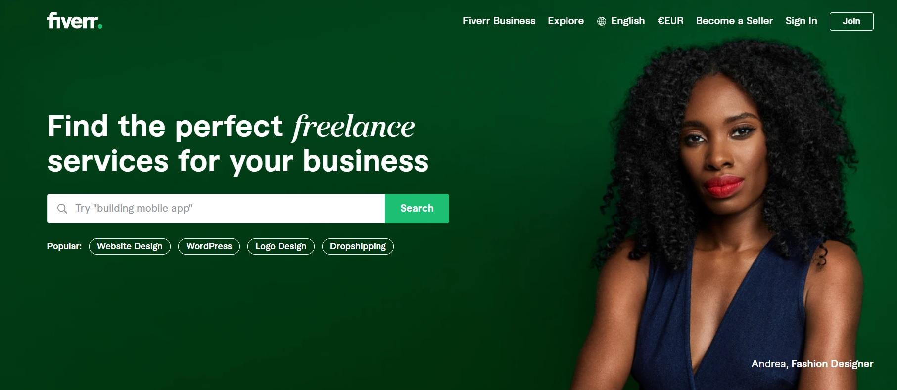 Fiverr homepage screenshot