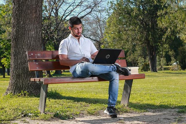 Man, laptop en zon
