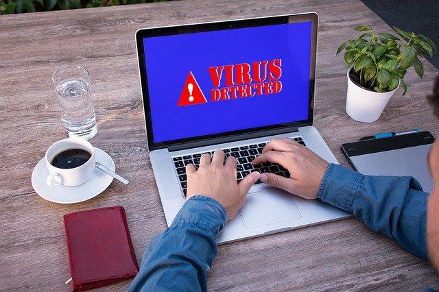 Virus detected laptop
