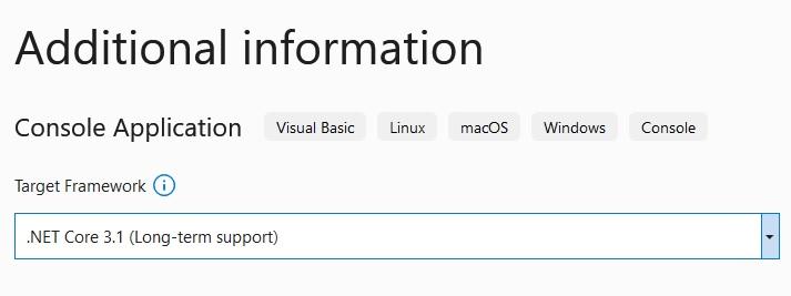 Visual Studio: Console Application (Target framework)