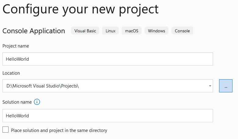 Visual Studio project name