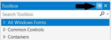 Visual Studio: Windows Forms App toolbox (Pin)