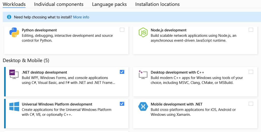 Workloads Visual Studio voor Visual Basic